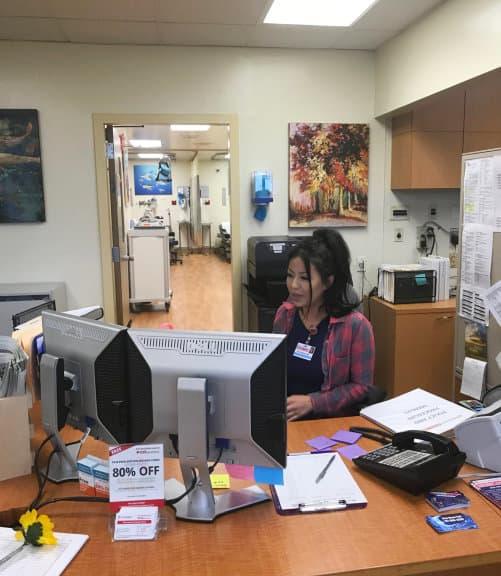 nurse sitting in the desk